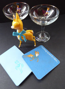 VINTAGE Babycham Job Lot: Small Plastic Babycham Bambi Fawn Model. 5 inches. Offered with two coupe glasses, beer mat and order pad