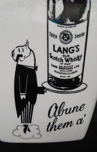 1950s WHISKY JUG for Lang's Scotch Whisky. Comical Black & White Image. Made by WADE. Excellent Condition