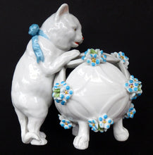 Load image into Gallery viewer, Pretty Victorian era SITZENDORF DRESDEN porcelain cat playing with a ball of wool, possibly a pot pourri holder