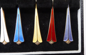 Vintage NORWEGIAN Solid Silver & Harlequin Enamel DAVID ANDERSEN Gilt Silver Demitasse Coffee Spoons in Fitted Case