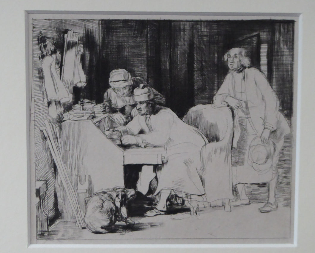 SCOTTISH ART. David Wilkie. The Lost Receipt. Original etching and drypoint on paper; c 1824. Gilt Frame