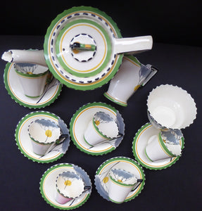 1930s BURLEIGH Ware ZENITH Art DECO Coffee Set with fine Dawn Pattern. Coffee Pot, Six Cups and Saucers; Milk Jug and Sugar Bowl
