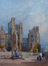Load image into Gallery viewer, VICTORIAN ENGLISH ART. View of a Medieval Abbey by James Burrell Smith (1822 - 1897). Watercolour on board. Framed