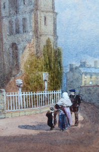 VICTORIAN ENGLISH ART. View of a Medieval Abbey by James Burrell Smith (1822 - 1897). Watercolour on board. Framed