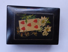 Load image into Gallery viewer, Antique 19th Century MAUCHLINE Ware Black Lacquer Box. Playing Card Box with Vintage Cards and Leather Pouch