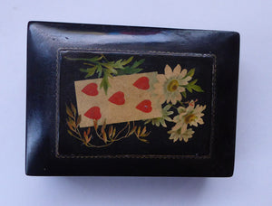 Antique 19th Century MAUCHLINE Ware Black Lacquer Box. Playing Card Box with Vintage Cards and Leather Pouch
