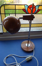Load image into Gallery viewer, Vintage 1970s Desk Lamp. Copper Enamel Eye Ball / Globe Metal Shade. Teak Base & Fully Adjustable with Finger Switch
