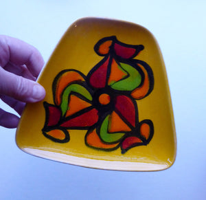 Fine LARGER 1970s Poole DELPHIS Pin Dish. Abstract Designs in Yellow, Orange, Red and Green Shades