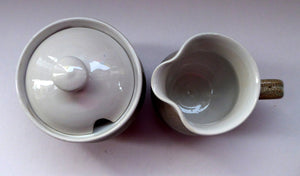 SCOTTISH POTTERY. Two Vintage Studio Pottery Dishes by Tom Lochhead, Kirkcudbright. Stoneware Lidded Jam Pot and Creamer