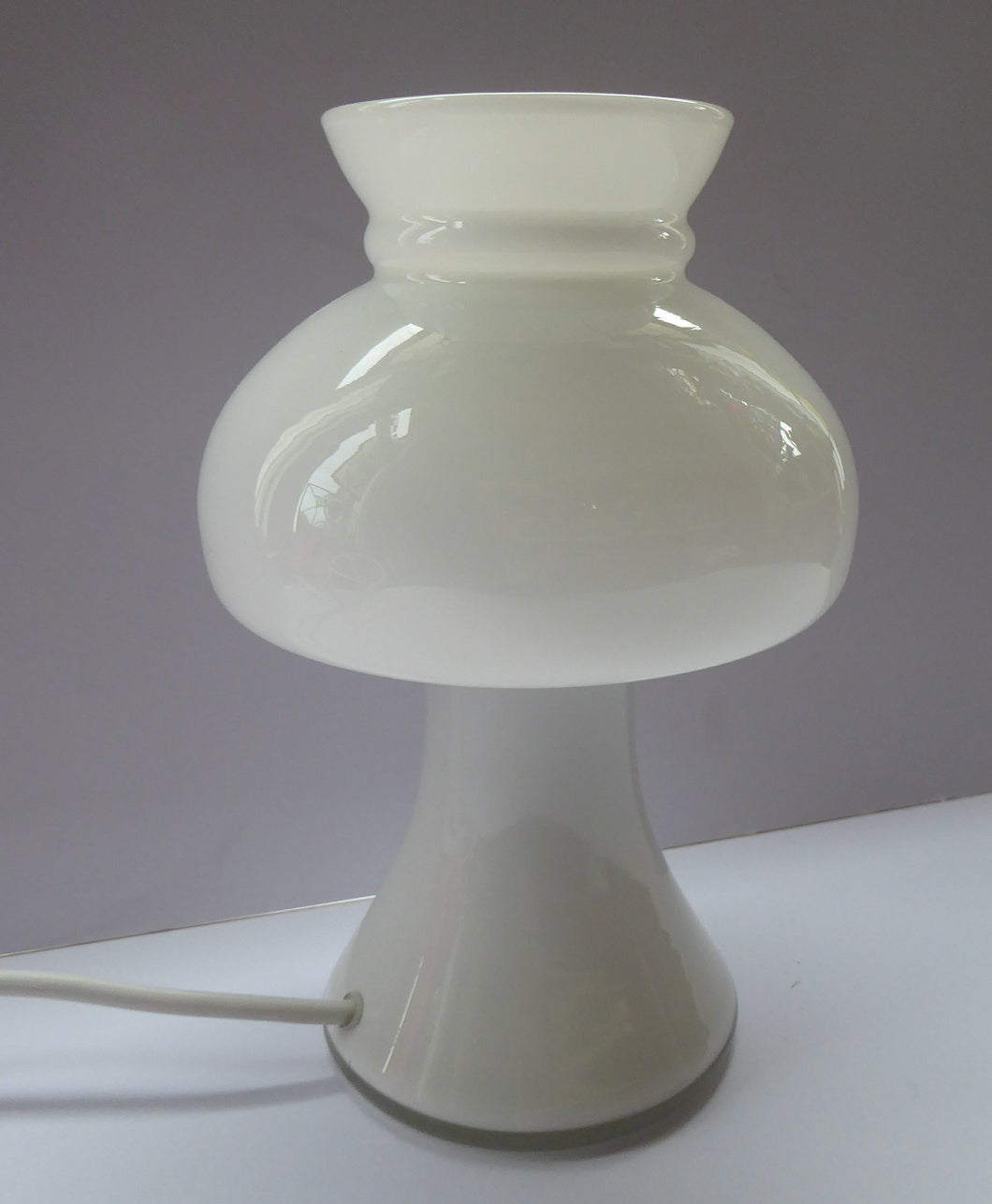 1970s HOLMEGAARD Glass Vintage Table Lamp. White Mushroom Shape