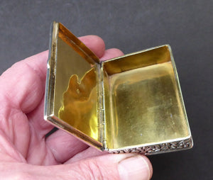 ANTIQUE 1870s Indian Chased Silver Oblong Snuff Box. TRICHINOPOLY. Hinged Lid and Gold Gilt Wash Interior