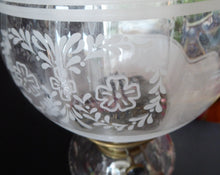 Load image into Gallery viewer, ANTIQUE Victorian Clear Pressed Glass Oil or Kerosene Lamp. Complete Lamp with Unusual Glass Fish Decorative Section