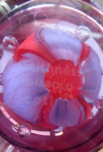 SCOTTISH GLASS. Vintage Caithness Paperweight Entitled DIABELO. 1993 Purple and Red Swirls with Controlled Air Bubbles