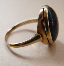 Load image into Gallery viewer, Vintage 9 ct gold Signet Ring with Oval Bloodstone. Fully marked inside. Weight: 2.7 grams