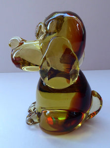 Vintage ITALIAN MURANO Glass Figurine in the Form of a Little Golden Amber Puppy Dog. With Red Murano Label