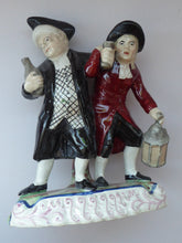Load image into Gallery viewer, ANTIQUE Staffordshire Figure. The Drunken Parson & his Clerk or Night Watchman. 19th Century in Good Condition