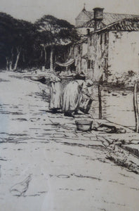 Rare Signed ETCHING by Percival Gaskell (1868 - 1934). View on the Torcello Island, Venice; c 1921