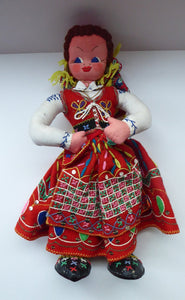 Large 1950s MARIA HELENA Cloth Doll. Beautiful Polish Costume Doll with Red Felt Beautifully Embroidered Skirt
