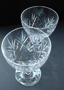 Vintage EDINBURGH CRYSTAL 1950s Claret Glass with stylish Lochiel Pattern. Etched mark to base