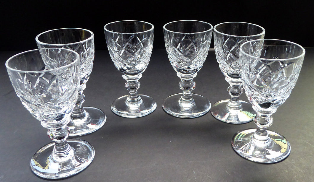 Set of Six Vintage WEBB CRYSTAL Tiny Liqueur Glasses. Matching Set of Six. Signed on the base