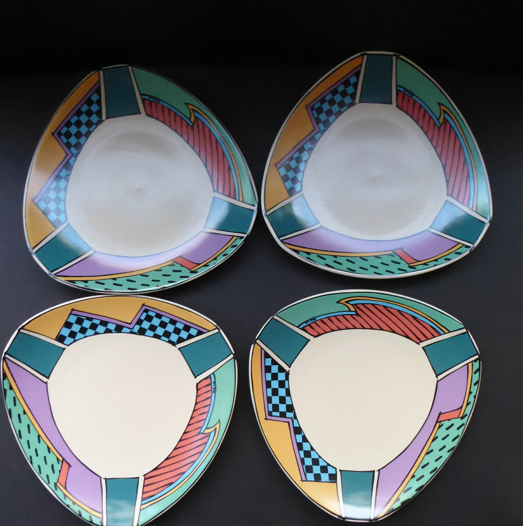ROSENTHAL Flash One Pattern Studio Linie Side Plates. Designed by Dorothy Hafner, 1980s 7 1/2 inches diameter