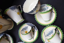 Load image into Gallery viewer, 1930s BURLEIGH Ware ZENITH Art DECO Coffee Set with fine Dawn Pattern. Coffee Pot, Six Cups and Saucers; Milk Jug and Sugar Bowl