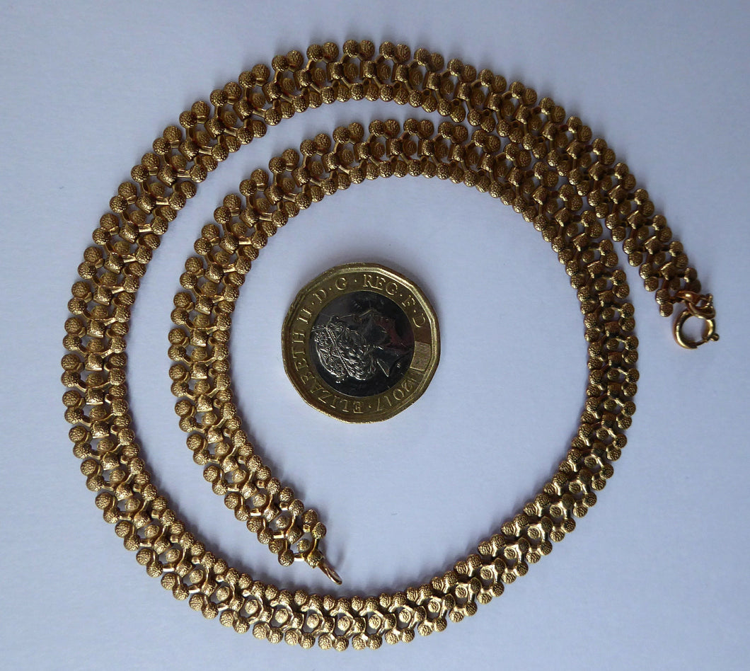 9ct GOLD Necklace of Wide Decorative Chain Form; Made from Delicate Textured Links. 19 grams in weight. In original Fitted Box