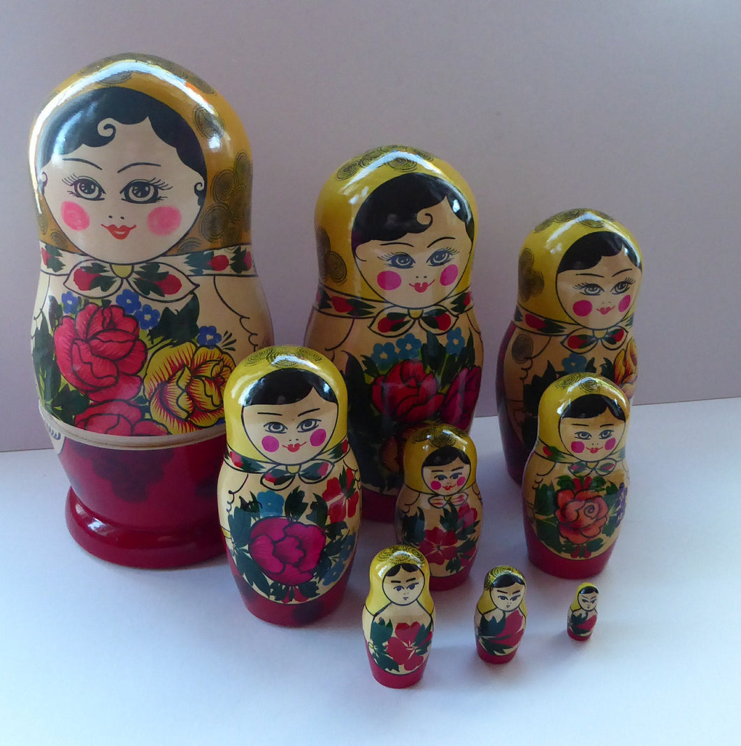 Vintage RUSSIAN Matryoshka Nesting Dolls.  Genuine Russian Set with Original Label Dated 1998. 9 DOLLS in total