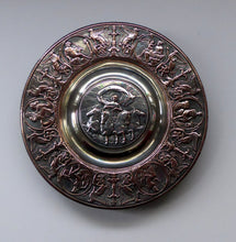 Load image into Gallery viewer, 1850s SILVER PLATE ELKINGTON Inkwell. Squat Circular Silver and Copper with Hinged Lid and Original Glass Liner. Mythology Design