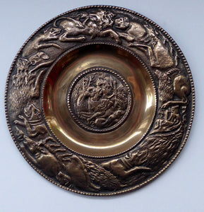 RARE Antique Bronze Wall Plate. Central Image Showing Diana and Actaeon as a Deer. The Rim Featuring a Lion Hunt