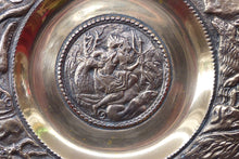 Load image into Gallery viewer, RARE Antique Bronze Wall Plate. Central Image Showing Diana and Actaeon as a Deer. The Rim Featuring a Lion Hunt