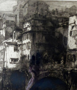 ANTIQUE PRINT. Original 1908 Etching by Hedley FITTON. Entitled the Ponte Vecchio, Florence. Pencil Signed