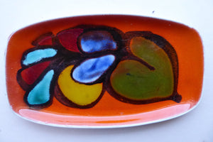 1970s Poole DELPHIS Oblong Pin Dish. Abstract Still-Life Designs on a Tangerine Orange Background. Excellent Condition