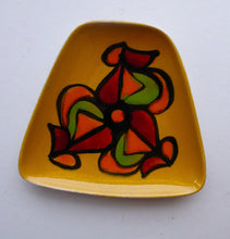 Load image into Gallery viewer, Fine LARGER 1970s Poole DELPHIS Pin Dish. Abstract Designs in Yellow, Orange, Red and Green Shades