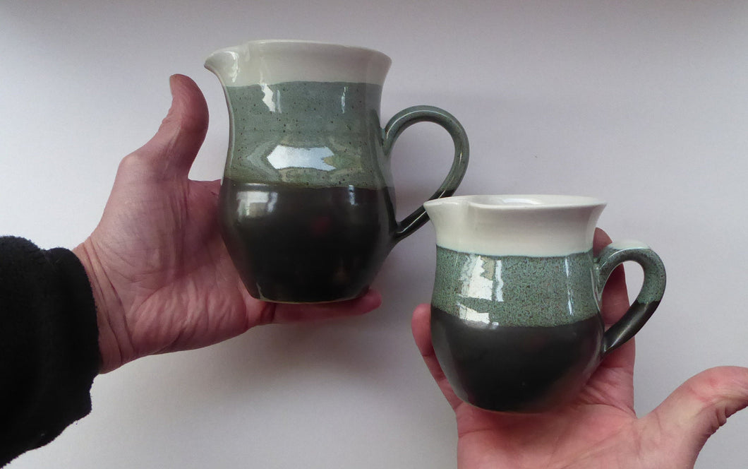SCOTTISH POTTERY. Two Vintage Studio Pottery Stoneware Jugs by Tom Lochhead, Kirkcudbright
