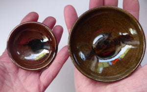 SCOTTISH POTTERY. Two Vintage Studio Pottery Stoneware Pin Dishes by Tom Lochhead, Kirkcudbright