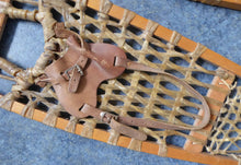 Load image into Gallery viewer, Vintage Snowshoes, Genuine Old Wooden Snowshoes, with Hide Mesh and Old Brown Leather Shoe Pockets. Great Ski Lodge Decorations