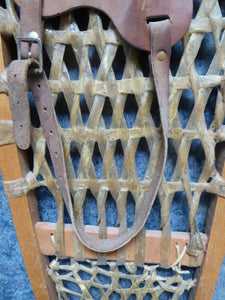 Vintage Snowshoes, Genuine Old Wooden Snowshoes, with Hide Mesh and Old Brown Leather Shoe Pockets. Great Ski Lodge Decorations