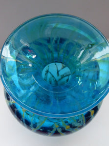 Vintage Signed Mdina Glass Vase. Great Sea and Sand Colours and Attractive Shape with Flared Trumpet Neck
