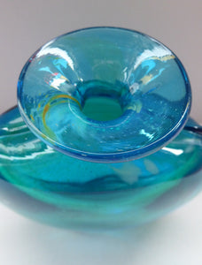 Vintage Mdina Glass Vase. Great Shape with Green-Blue Shade, Flared Neck and Clear Trails to Each Side