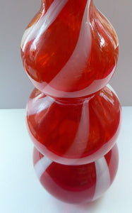 Fabulous Space Age Alrose / Empoli Italian Glass Genie Bottle Vase: Complete with Original Stopper. Red and White Candy Stripes