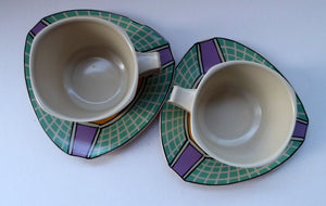 PAIR of ROSENTHAL Flash One Pattern Studio Linie Coffee Cups and Saucers. Designed by Dorothy Hafner, 1980s