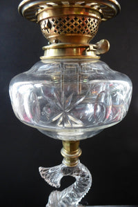 ANTIQUE Victorian Clear Pressed Glass Oil or Kerosene Lamp. Complete Lamp with Unusual Glass Fish Decorative Section