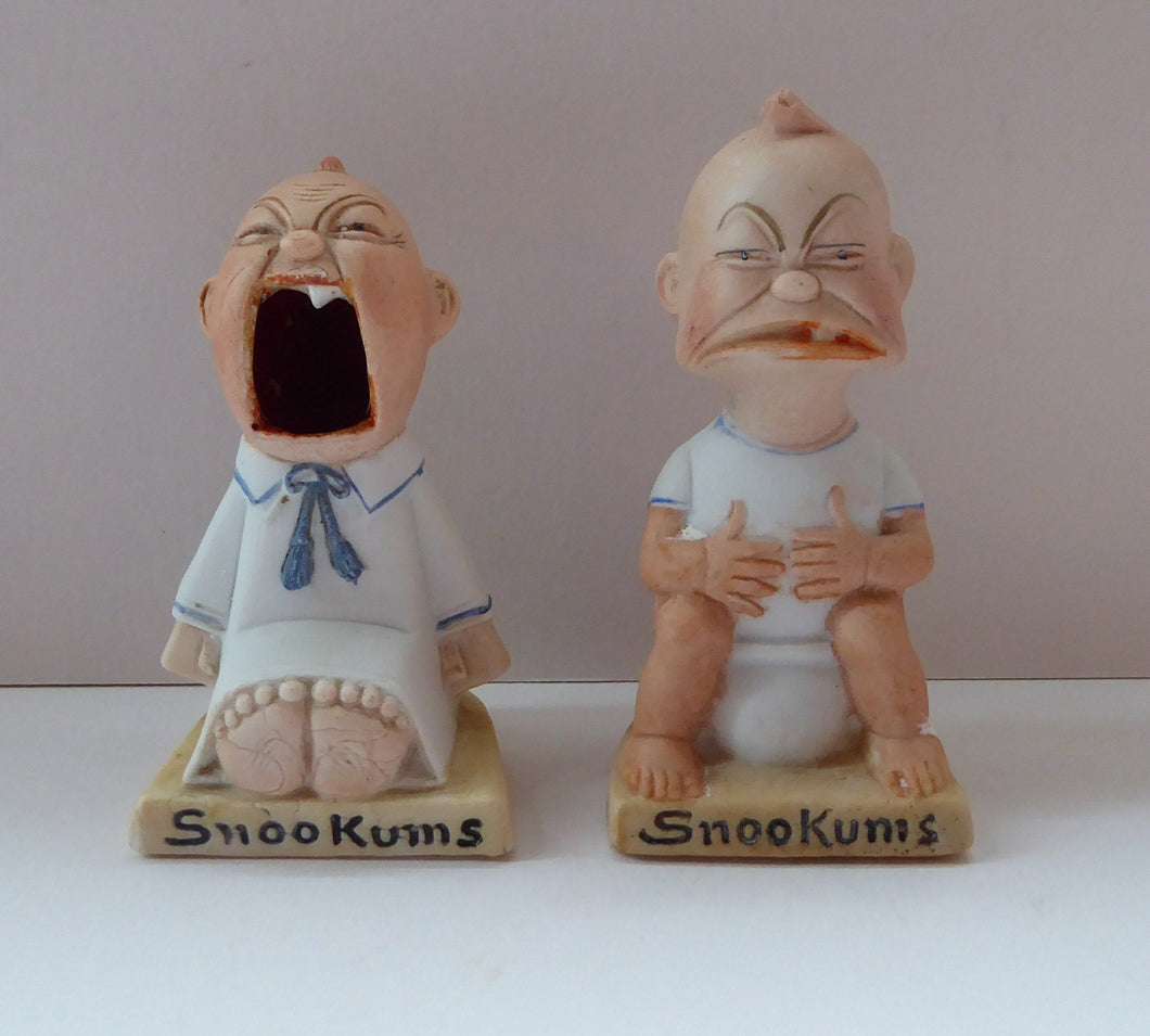 SNOOKUMS. Antique PAIR of Miniature Bisque Porcelain Figures by Schafer & Vater.  Extremely Rare and Collectable Models; c 1915