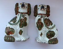 Load image into Gallery viewer, Rarer Small Staffordshire Dogs Chimney Spaniels / Wally Dugs. With Unusual Oilve Green Lustre Patches; c 1860