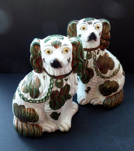 Rarer Small Staffordshire Dogs Chimney Spaniels / Wally Dugs. With Unusual Oilve Green Lustre Patches; c 1860