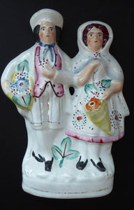 ANTIQUE Victorian Staffordshire Figurine. Lovely Wee Man and Woman with Baskets Full of Flowers
