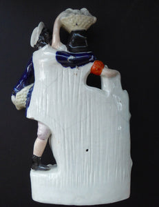 ANTIQUE Victorian Staffordshire Flatback Figurine. Rarer Example of a Man and Woman at a Gate Collecting Grapes