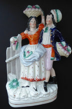Load image into Gallery viewer, ANTIQUE Victorian Staffordshire Flatback Figurine. Rarer Example of a Man and Woman at a Gate Collecting Grapes