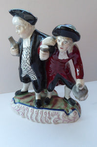 ANTIQUE Staffordshire Figure. The Drunken Parson & his Clerk or Night Watchman. 19th Century in Good Condition